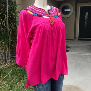 Handmade Embroidered Mexican Blouse Hand-Stitched